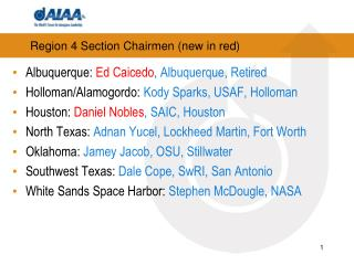Region 4 Section Chairmen (new in red)