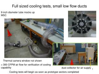 Full sized cooling tests, small low flow ducts