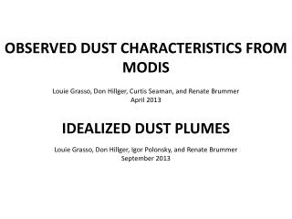 OBSERVED DUST CHARACTERISTICS FROM MODIS