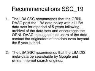 Recommendations SSC_19