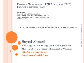 Project Management, PMI Approach (PMP ) Project Initiation Phase