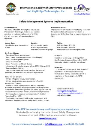 Key  Areas of Focus: ¨Overview of Safety Management