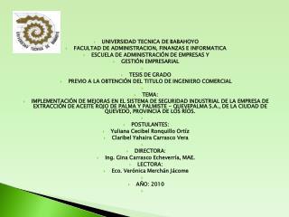 UNIVERSIDAD TECNICA DE BABAHOYO FACULTAD DE ADMINISTRACION, FINANZAS E INFORMATICA