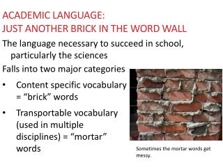 Academic language:  Just another brick in the Word Wall
