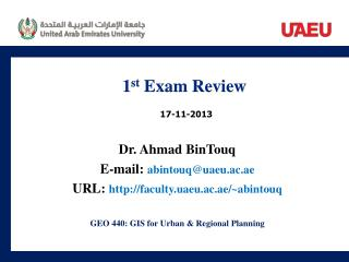 1 st  Exam Review