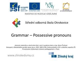 Grammar  –  Possessive pronouns
