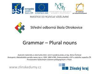 Grammar  –  Plural nouns