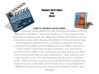 Windows Movie  M aker And iMovie