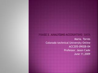 Phase 3- analyzing accounting  Data
