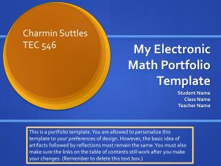 My Electronic  Math Portfolio  Template