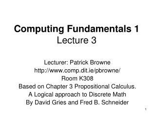 Computing Fundamentals 1 Lecture 3