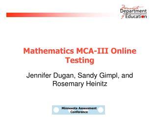 Mathematics MCA-III Online Testing