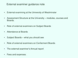 External examiner guidance note