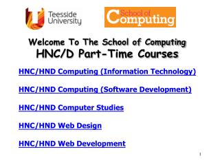 Welcome To The School of Computing HNC/D Part-Time Courses