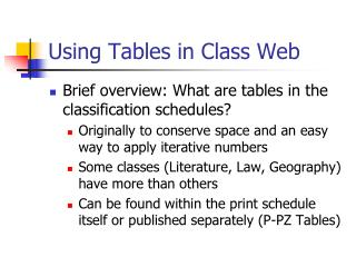 Using Tables in Class Web