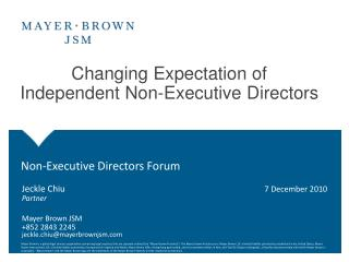 Changing Expectation of Independent Non-Executive Directors