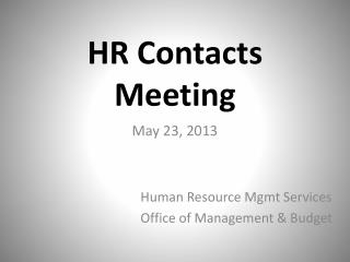 HR Contacts Meeting