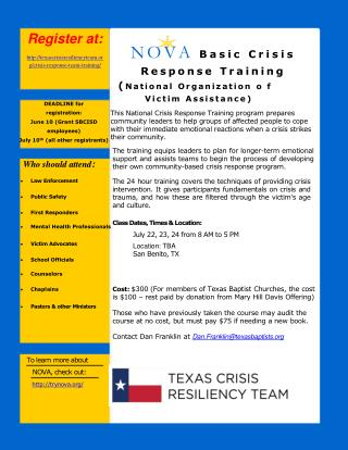 Register at:  texascrisisresiliencyteam/crisis-response-team-training/