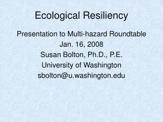 Ecological Resiliency