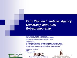 Farm Women in Ireland: Agency, Ownership and Rural Entrepreneurship