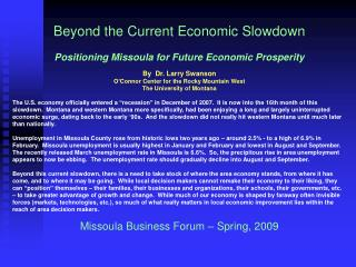Beyond the Current Economic Slowdown Positioning Missoula for Future Economic Prosperity