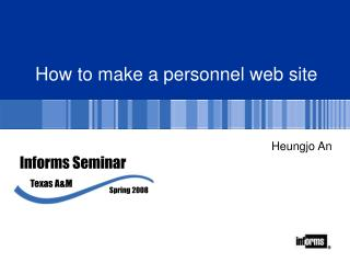 How to make a personnel web site