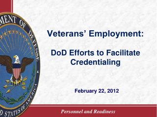Veterans' Employment: DoD Efforts to Facilitate Credentialing