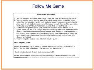 Instructions for teacher: