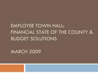 Employee Town hall: Financial State of the County & Budget Solutions  March 2009