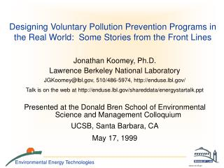 Jonathan Koomey, Ph.D. Lawrence Berkeley National Laboratory