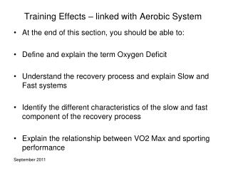 Training Effects – linked with Aerobic System