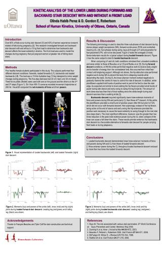 KINETIC ANALYSIS OF THE LOWER LIMBS DURING FORWARD AND BACKWARD STAIR DESCENT WITH AND WITHOUT A FRONT LOAD Olinda Habib