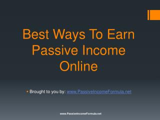 Best Ways To Earn Passive Income Online