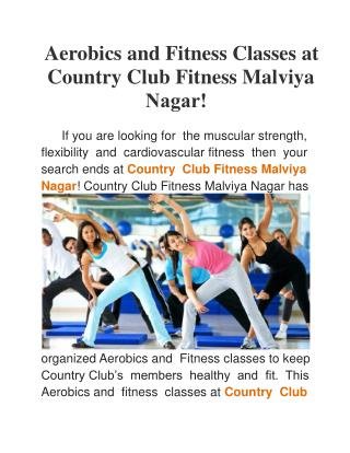 Aerobics and Fitness Classes at Country Club Fitness Malviya