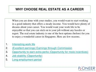 Why Choose Real Estate as a Career