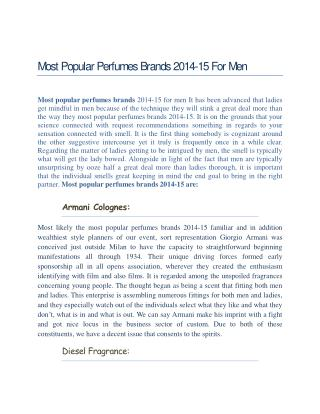 Most Popular Perfumes Brands 2014-15 For Men
