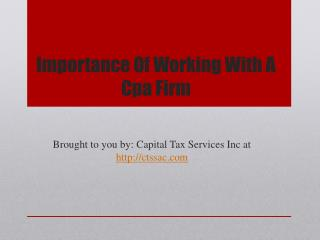 Importance Of Working With A Cpa Firm