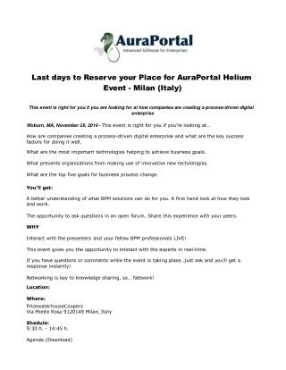 Last days to Reserve your Place for AuraPortal Helium Event