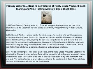Fantasy Writer K.L. Bone to Be Featured at Rusty Grape