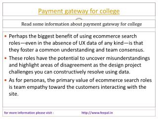 New update about payment gateway for college