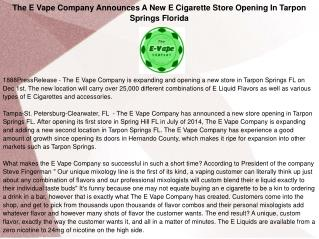 The E Vape Company Announces A New E Cigarette Store Opening