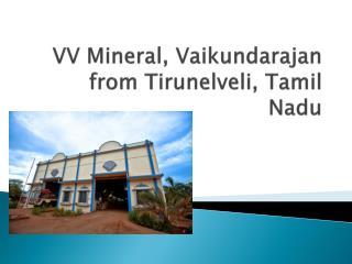 VV Mineral, Vaikundarajan from Tirunelveli, Tamil Nadu