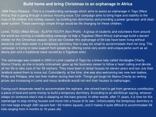 Build home and bring Christmas to an orphanage in Africa