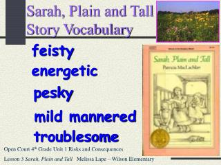 Sarah, Plain and Tall  Story Vocabulary