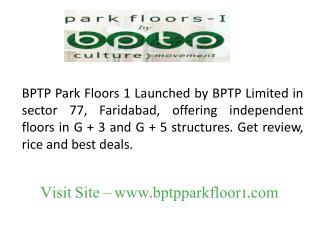BPTP Park Floors 1 Faridabad