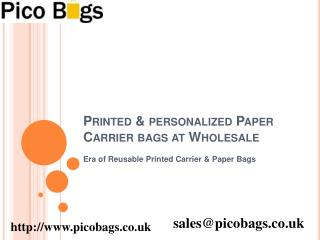 Suppliers of Recycled Printed Paper Carrier Bags