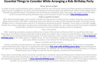 Essential Things to Consider While Arranging a Kids Birthday