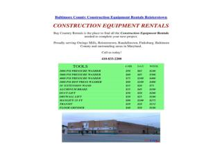 Baltimore County Construction Equipment Rentals Reisterstown