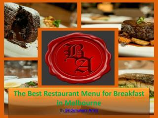 The Best Restaurant Menu for Breakfast in Melbourne