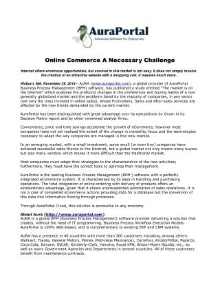 Online Commerce A Necessary Challenge